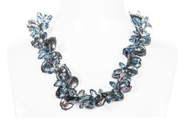 Peacock Blue Freshwater Keshi Pearl and Crystal Twisted Necklace-Pearl Rack