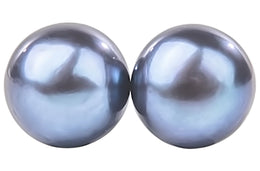 Peacock Blue Freshwater Pearl Stud Earrings Sterling Silver 8mm-Pearl Rack