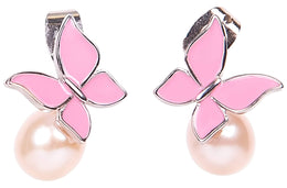 Pink Freshwater Pearl and Sterling Silver Butterfly Drop Earring-Pearl Rack