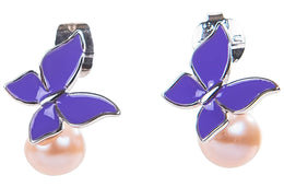 Purple Freshwater Pearl and Sterling Silver Butterfly Drop Earring-Pearl Rack