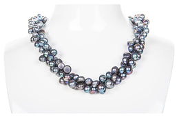 Triple Strand Blue-Grey Freshwater Button Pearl Necklace-Pearl Rack