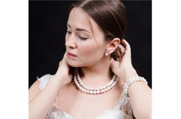 White Double Strand Layer Freshwater Round Pearl Necklace and Bracelet Set with Crystal Ball 10mm-Pearl Rack