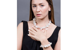 White Freshwater Keshi Pearl with Crystal Necklace and Bracelet Set-Pearl Rack