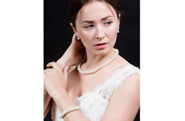 White Multi Strand Braided Freshwater Pearl Necklace and Bracelet Set 6mm-Pearl Rack