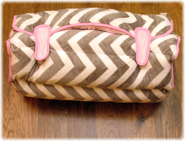 Lt Pink and Grey Chevron Nap Mat