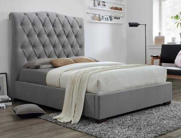Upholstered Grey Tall Headboard Bed