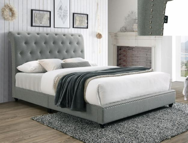 Tufted Grey Platform Bed With USB Outlet