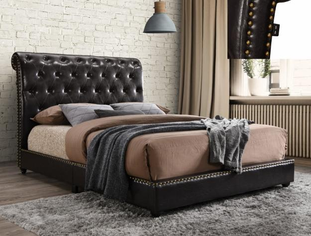 Tufted Platform Bed With USB Outlet