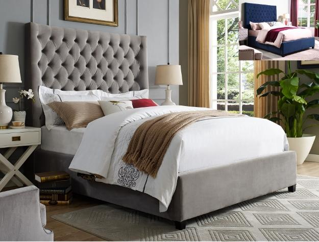 Upholstered Grey Velvet Tall Headboard Bed 5113 - Save on Mattresses Outlet