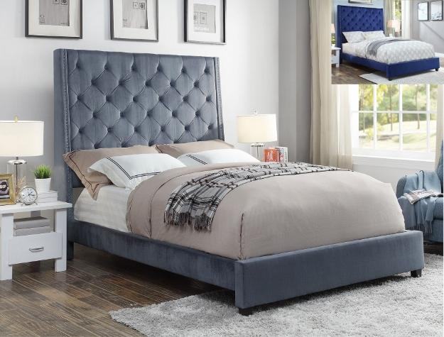 Upholstered Tall Headboard Bed 5286 - Save on Mattresses Outlet