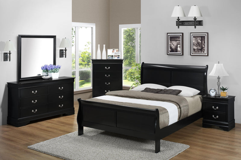 Louis Philip Bed Black - Save on Mattresses Outlet