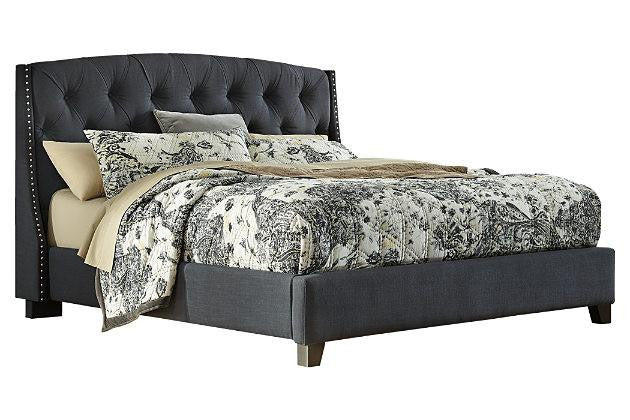 Upholstered Queen Bed by Ashley Grey - Save on Mattresses Outlet