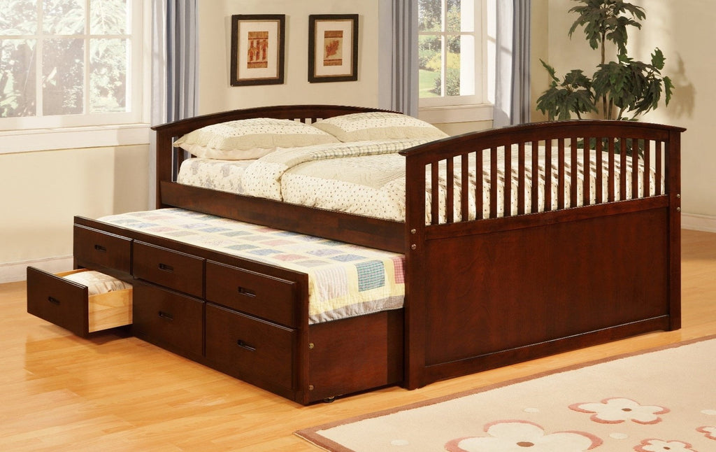 CHERRY FULL BED WITH TWIN TRUNDLE