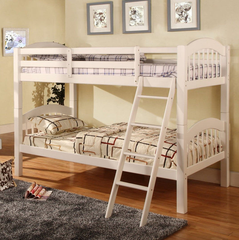 Twin/Twin Bunk Bed White Color - Save on Mattresses Outlet