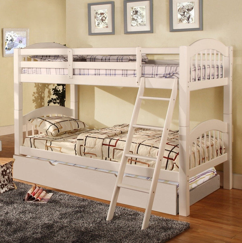 Twin/Twin Bunk Bed White Color With Storage - Save on Mattresses Outlet