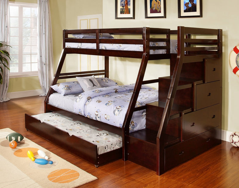 Twin Full Bunkbed with Trundle and Storage Stairs - Save on Mattresses Outlet