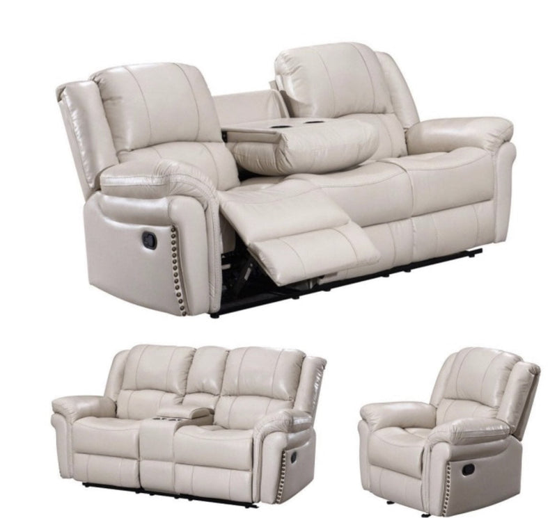3 pc off white sofa, loveseat and chair