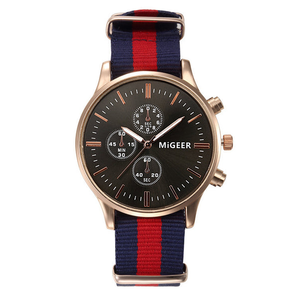 Stripe Canvas Men's Analog Watch