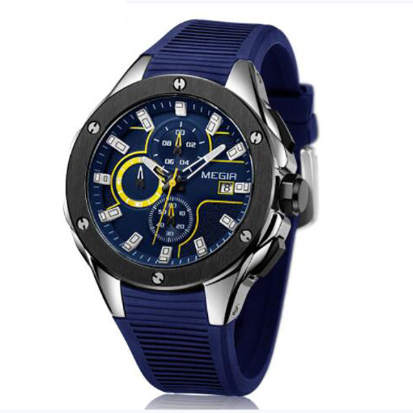 Men's Sport Watch - Chronograph With Silicone Strap