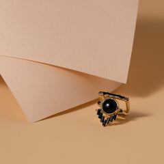 Chevron Ring in Black Onyx