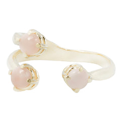 Triple Twisted Claw Ring with Stone in Pink Opal