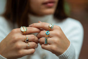 Cha Cha Ring in Turquoise + Moonstone