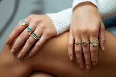 Cha Cha Ring in Green Onyx + Opal