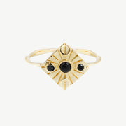 Compass Ring in Black Onyx/Black Spinel