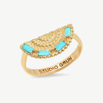 Woven Fan Ring in Turquoise