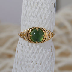 Seven Moons Ring in Green Serpentine