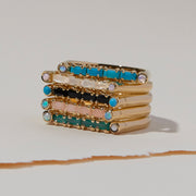 Cha Cha Ring in Turquoise + Black Spinel