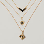 Compass Necklace in Black Onyx/Black Spinel