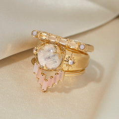 Chevron Ring in Pink Opal