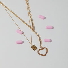 Lace Heart Charm Necklace in Moonstone