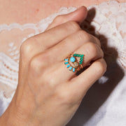 Chevron Ring in Green Onyx