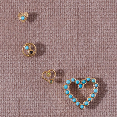 Lace Heart Studs in Turquoise