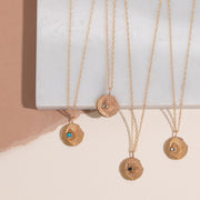 Sun and Moon Charm Necklace in Moonstone