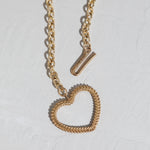 Chunky Woven Heart Necklace in Gold