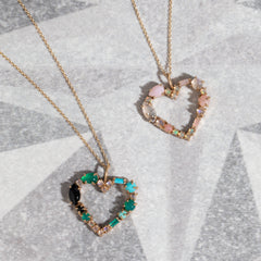 Mosaic Heart Necklace in Mermaid Palette
