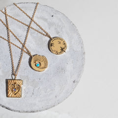 Sun and Moon Charm Necklace in Turquoise