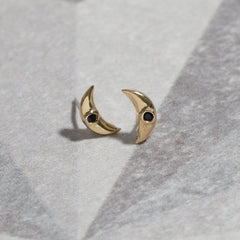 Moon Studs in Moonstone