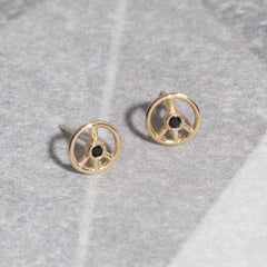 Tiny Peace Studs in Black Spinel