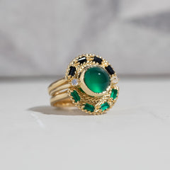 Woven Fan Ring in Green Onyx