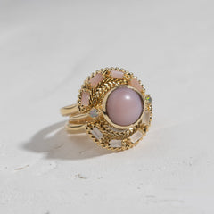 Woven Fan Ring in Moonstone