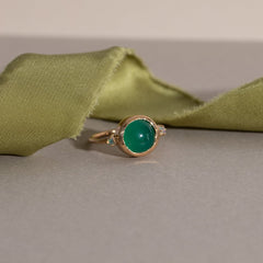 Hidden Star Ring in Green Onyx + Moonstone