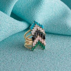 Chevron Ring in Turquoise