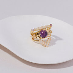 Seven Moons Ring in Amethyst