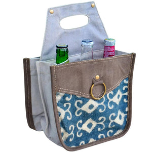 Blue Pattern Bottle 6 Pack Canvas Tote