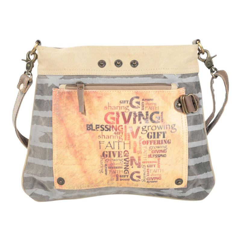 Giving Blessings Growing Double Zipper Shoulder Crossbody Bag