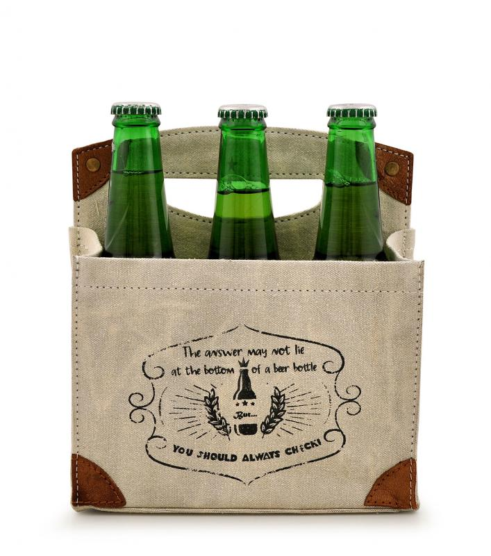 Answer Bottom of Beer Bottle 6 Pack Canvas Tote